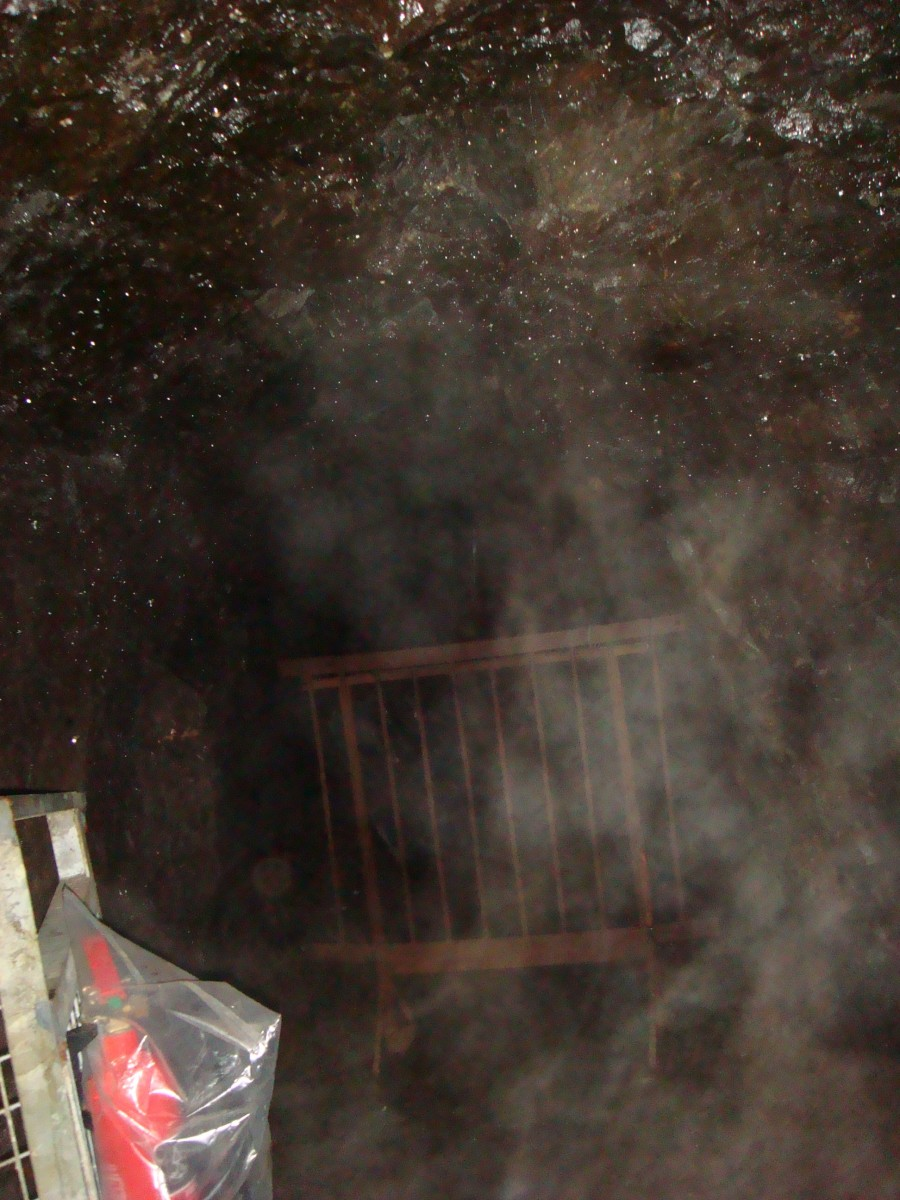 "Photo of ""Miner's Ghost"" taken from within the Lochnell Mine at the Museum of Lead Mining, Wanlockhead, Scotland"