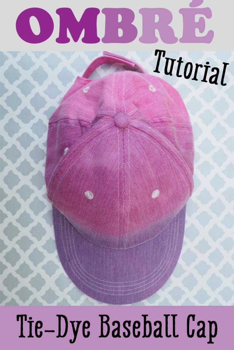 Easy DIY tutorial on how to ombré tie-dye a baseball cap.