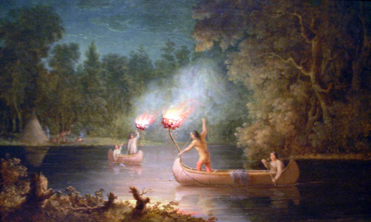 """Spearing Salmon By Torchlight,"" an oil painting by Paul Kane. Royal Ontario Museum."