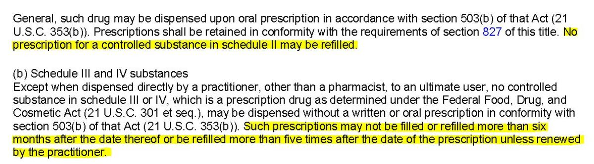 This section of Federal Law pertains to the number of refills allowed on controlled substances.