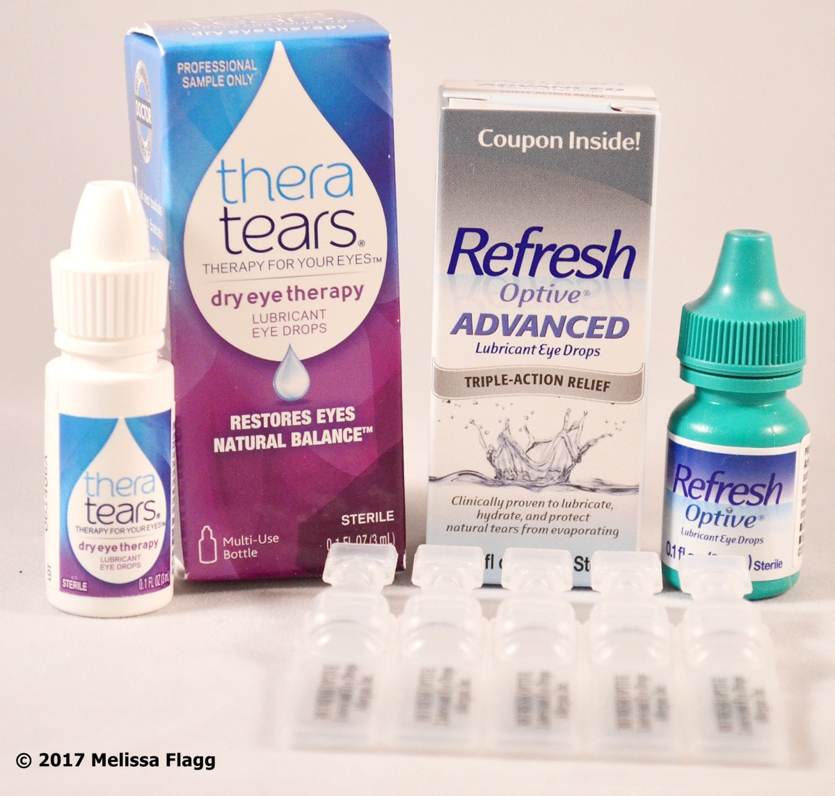 Artificial tears such as Theratears and Refresh Optive are the first line of defense for dry eye and dry eye syndrome.