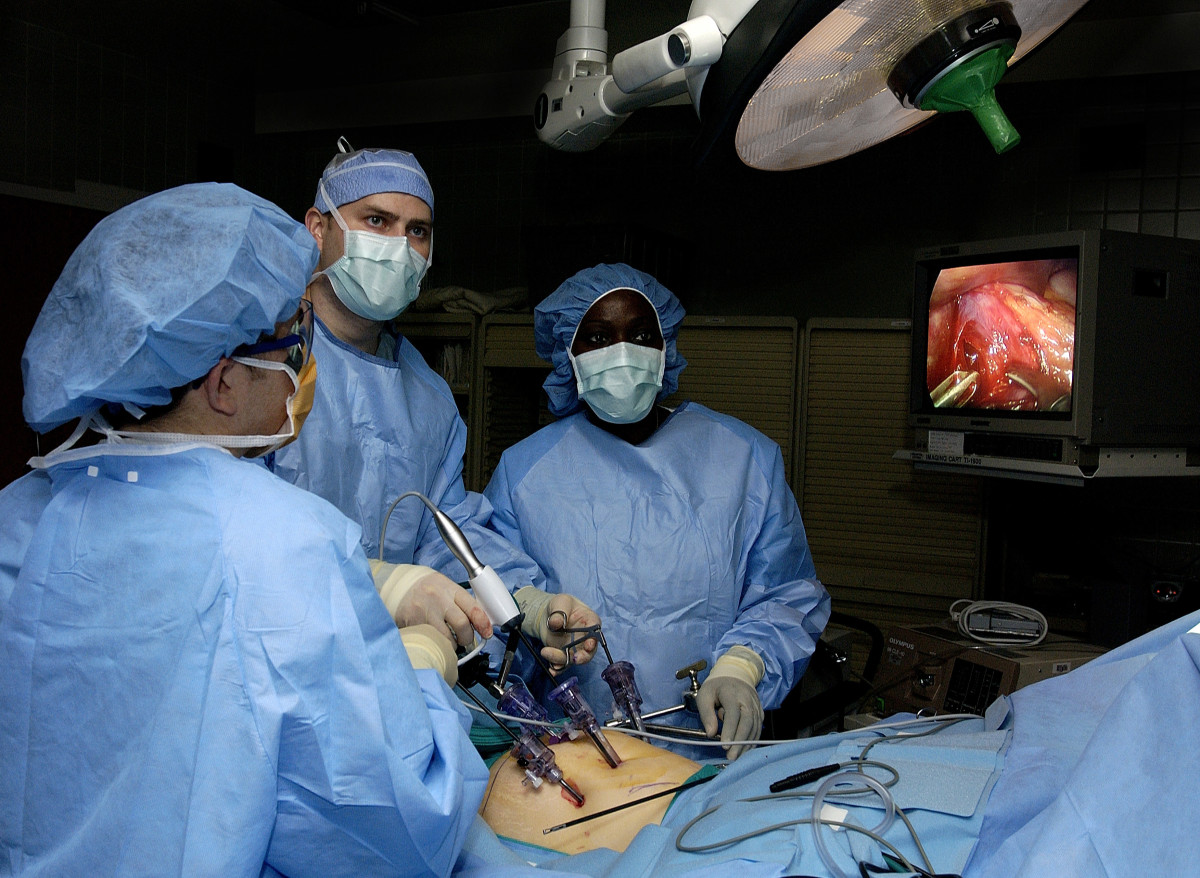 During laparoscopic surgery, multiple ports are inserted into the abdomen through small incisions. Then carbon dioxide is blown into the abdomen to make room for the surgeon to operate.