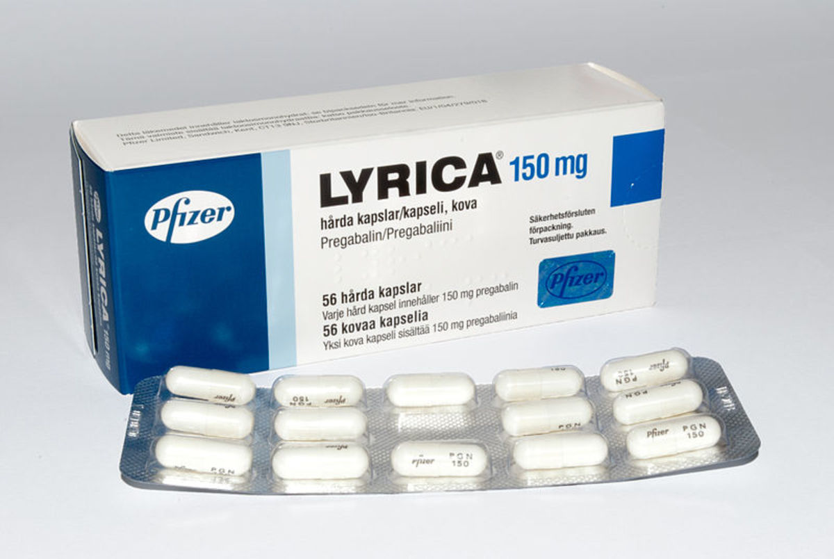 The generic name of a drug is usually written under the brand name of the product label. Pregabalin is the generic name of the brand name medication Lyrica. Lyrica is used to treat pain caused by nerve damage