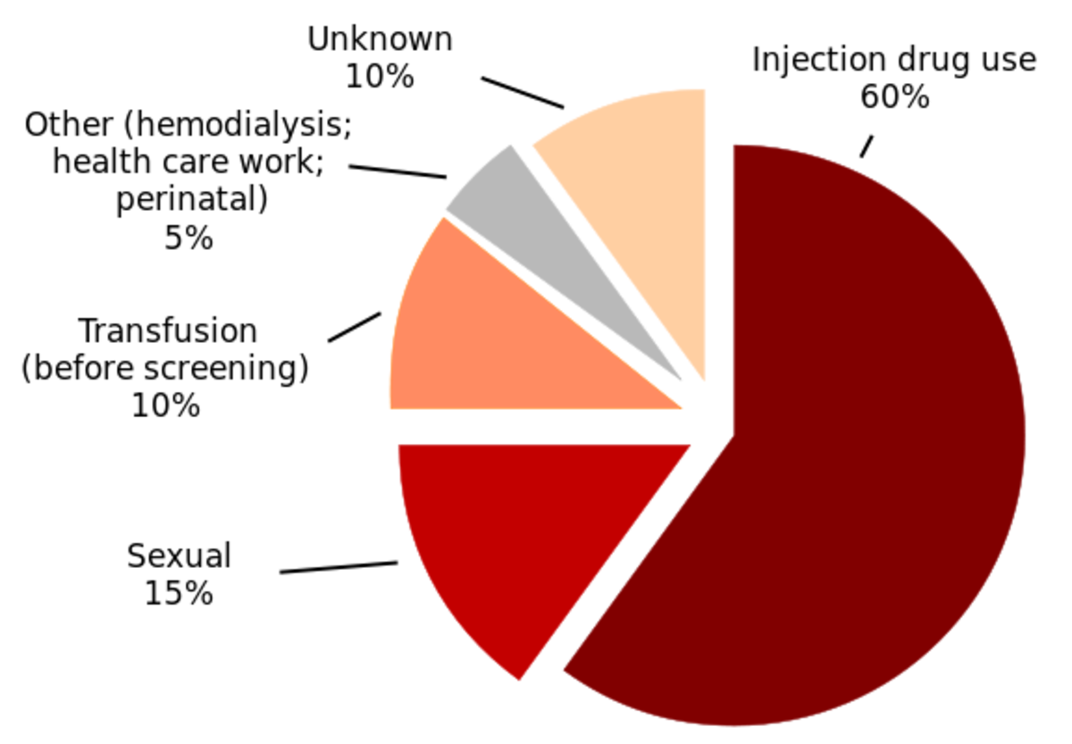 Pie Chart showing IV drug use as the number one cause of Hep C infection.