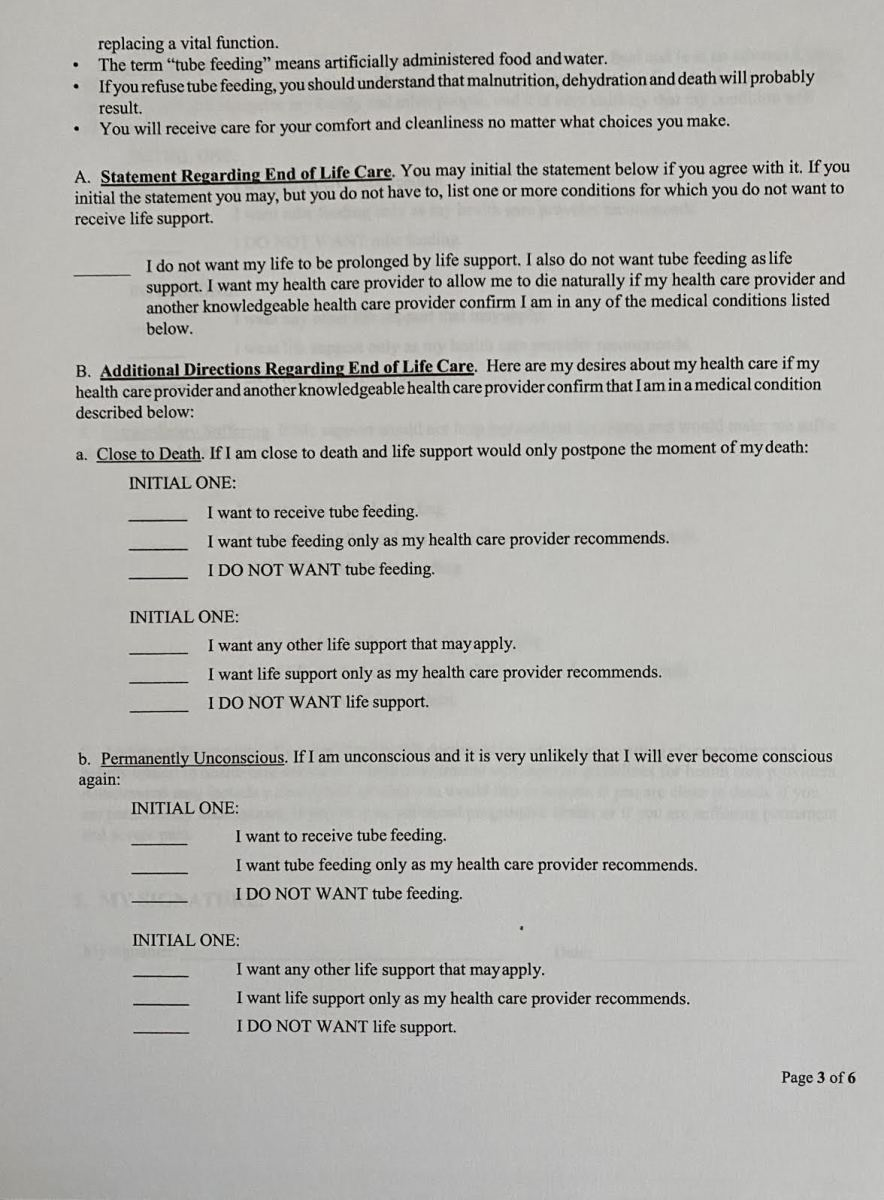 Advance Directive form page 3 (State of Oregon)