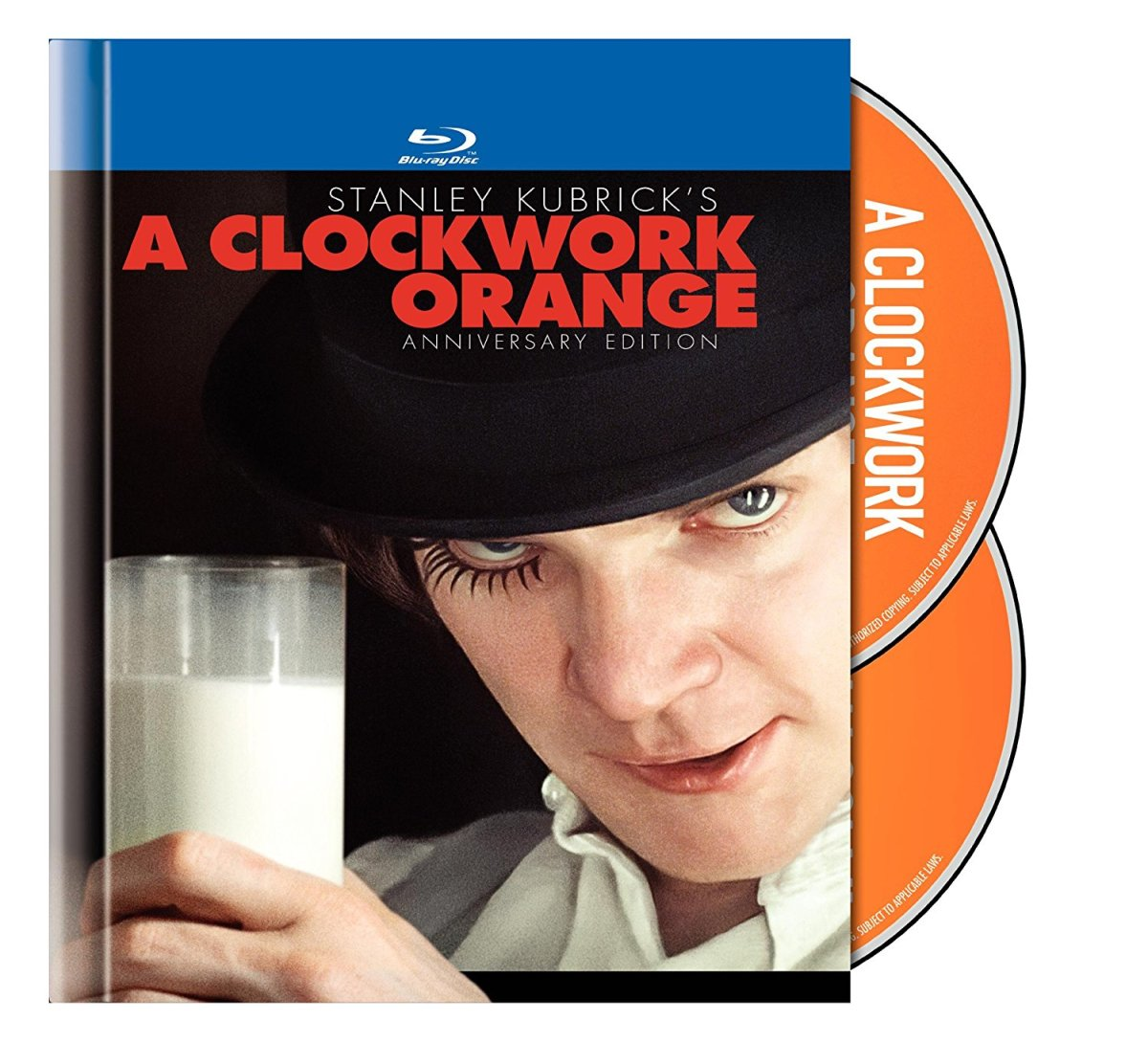 "The cover of the two-disc Anniversary Edition Blu-ray of, ""A Clockwork Orange."""