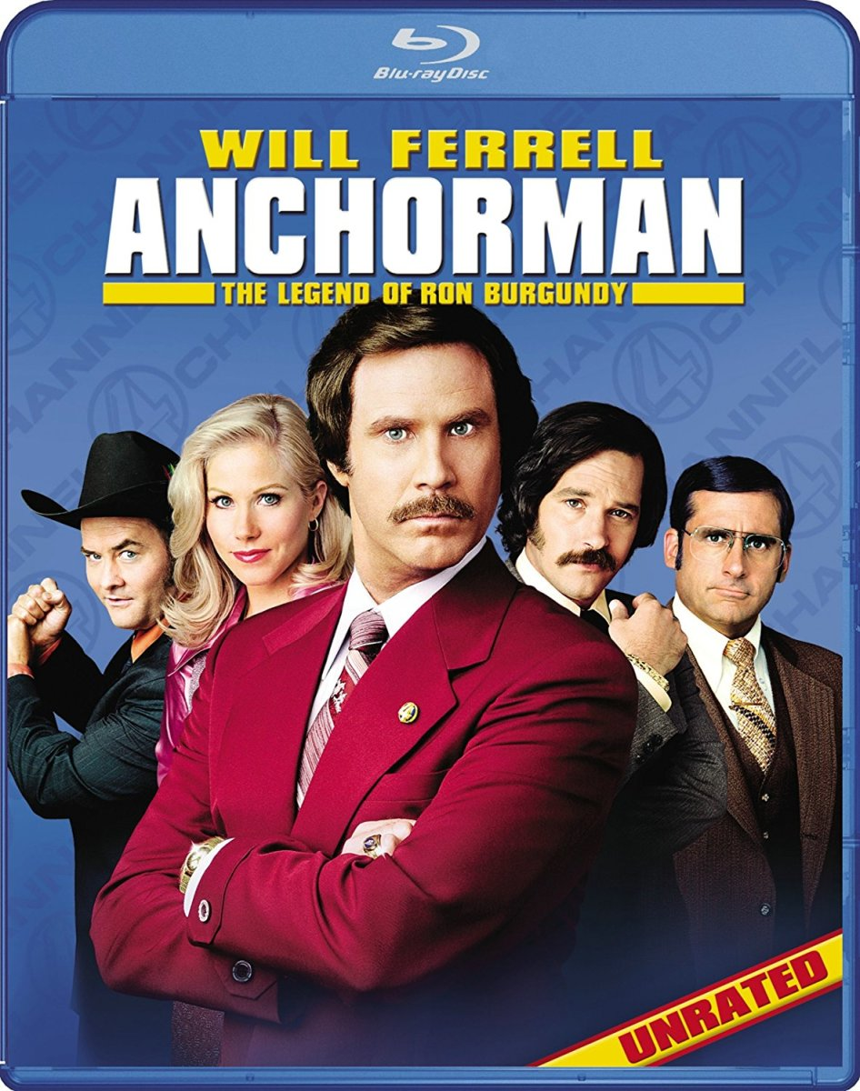 "The official Blu-ray cover for, ""Anchorman: The Legend of Ron Burgundy."""