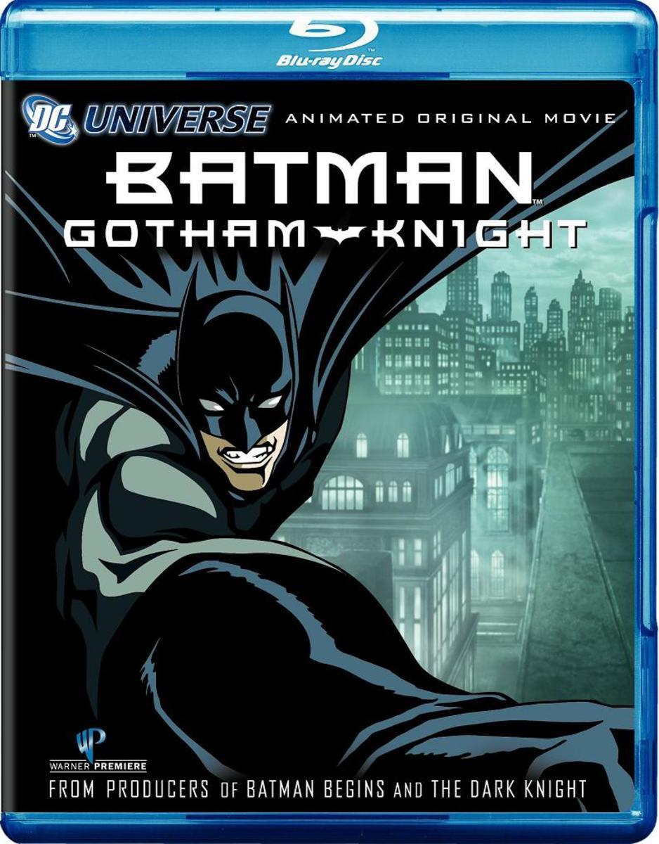 "The Blu-ray cover for, ""Batman: Gotham Knight."""