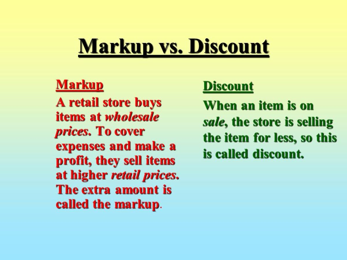 What's the difference between a markup and a discount?