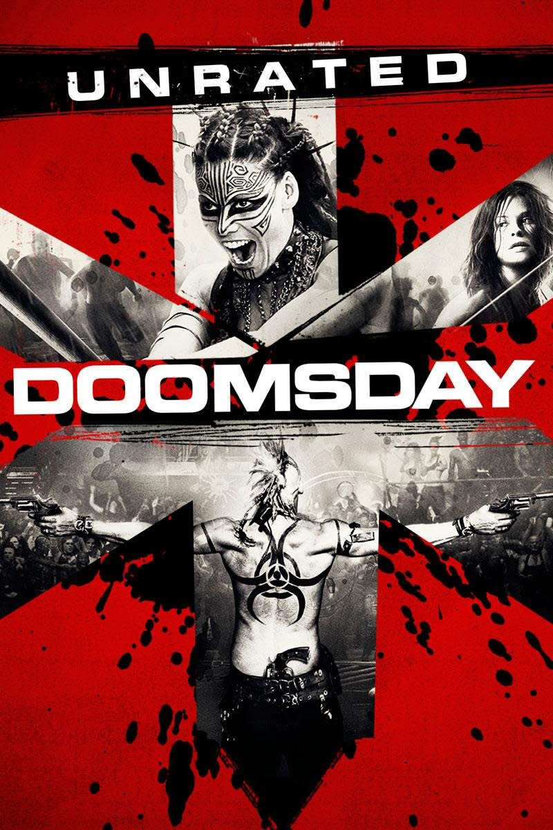 "The poster/DVD cover for the unrated cut of Neil Marshall's, ""Doomsday."""