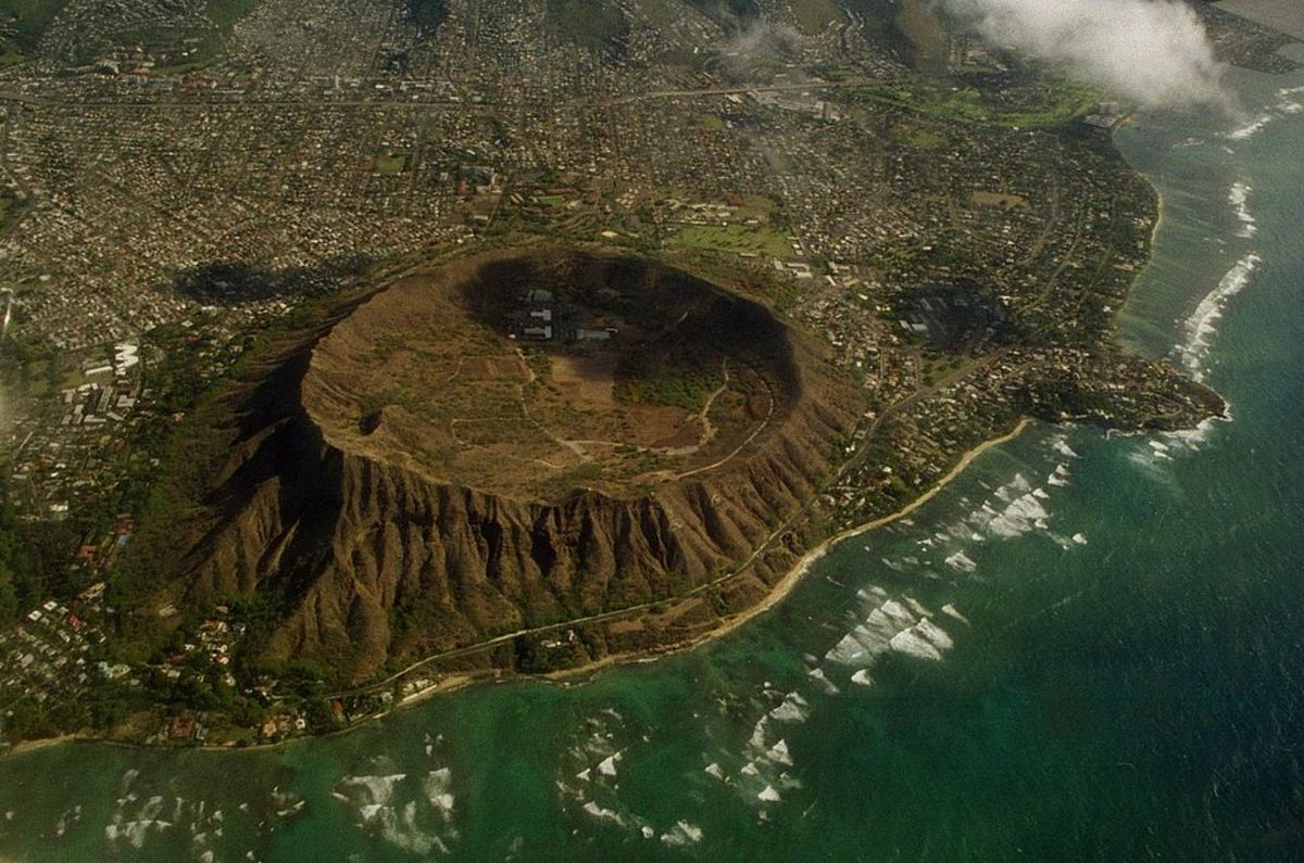 Diamond Head Crater, is surrounded by the modern-day city of Honolulu