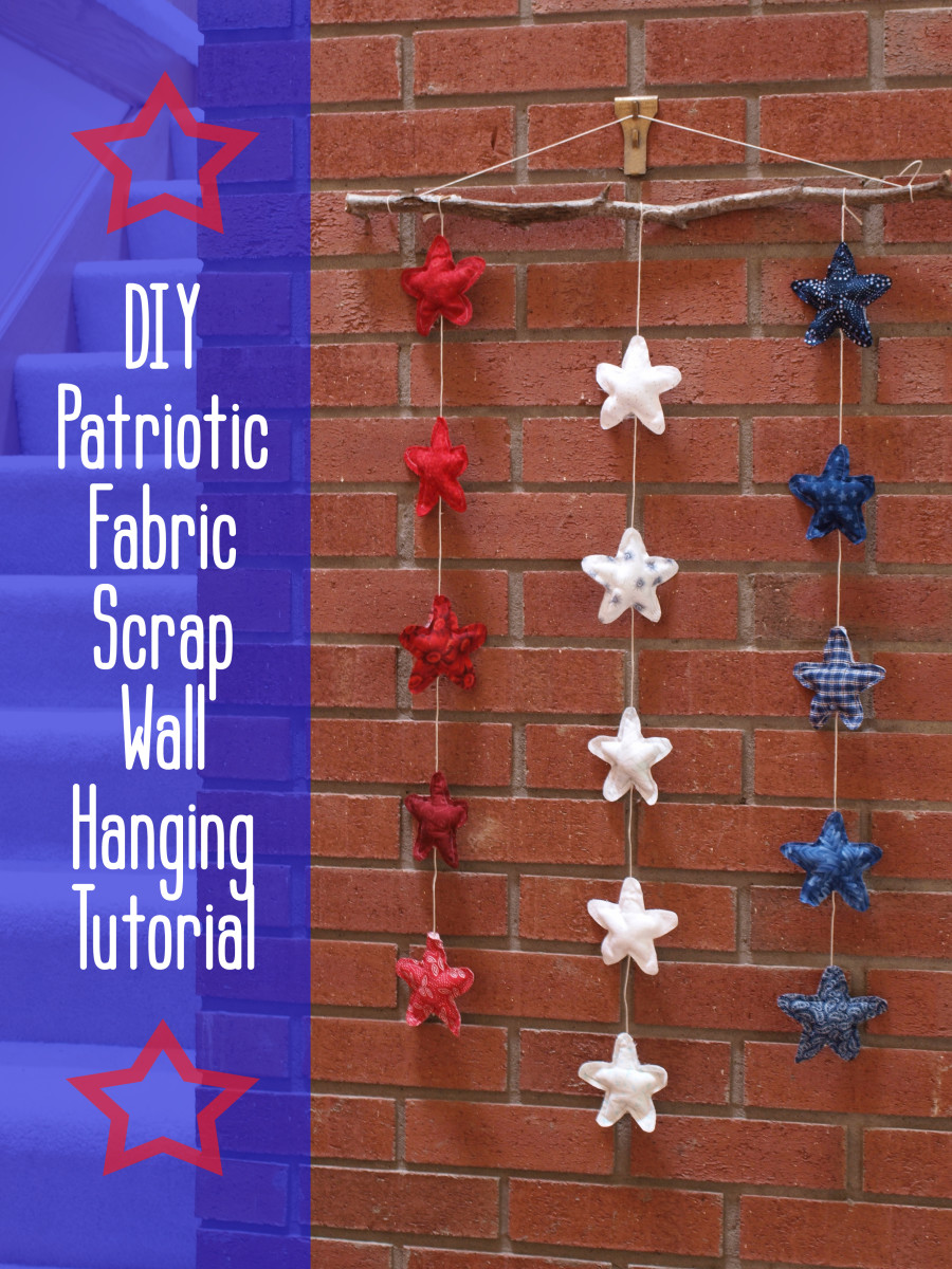Perfect for the 4th of July, this DIY rustic patriotic star wall hanging is easy to make, and it's a great fabric scrap buster.