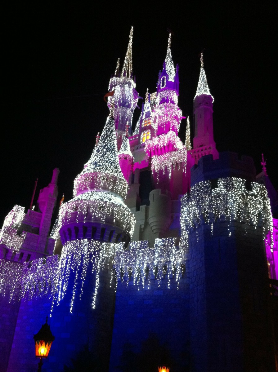 You'll want to be able to last through long days in the parks if you want to see beautiful sights like Cinderella's castle at night.