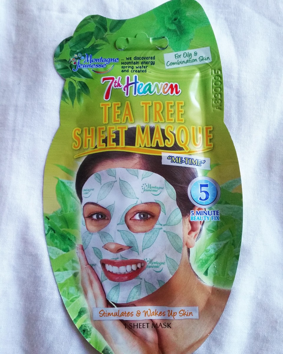 The outer packaging of the 7th Heaven Tea Tree Sheet Face Mask.