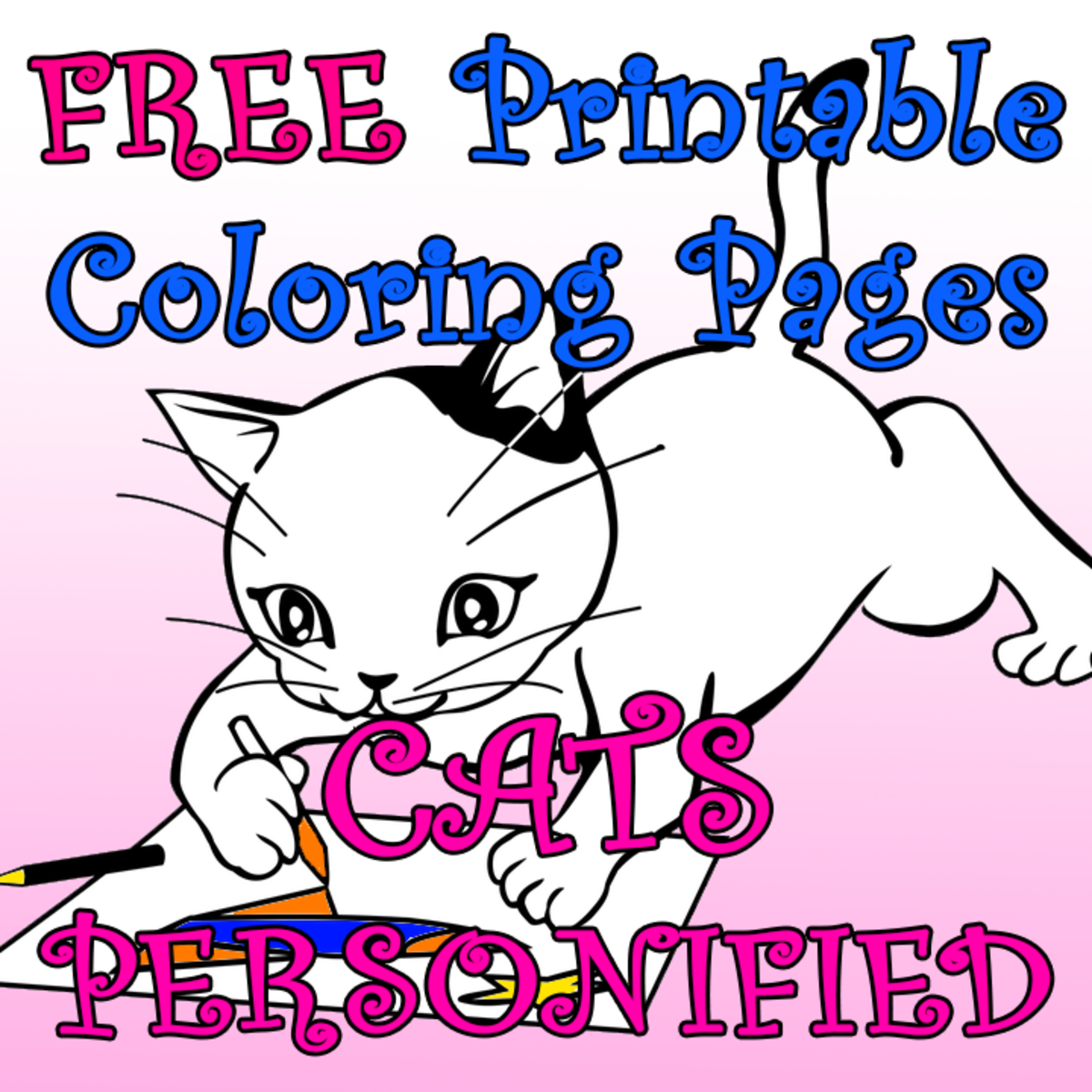 10 more free printable coloring pages for kids, featuring cats.