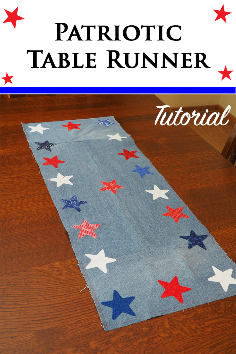 Easy DIY Patriotic Fabric Scrap Craft: Table Runner Made from Repurposed Jeans
