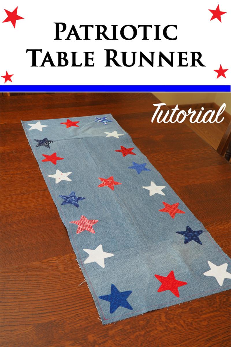 DIY Scrap Fabric Craft Tutorial: Patriotic Table Runner Made With Repurposed Jeans