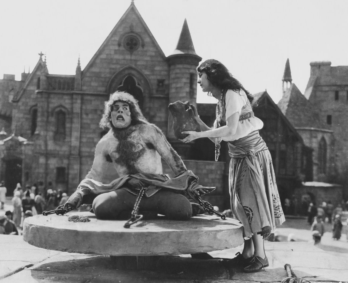 Quasimodo (Lon Chaney) with Esmeralda