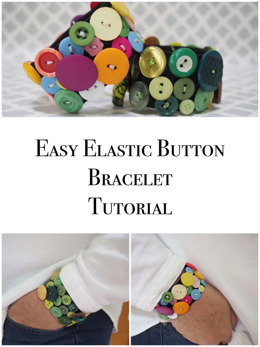 Easy and fun to make with this step-by-step jewelry tutorial, you'll love this fashionable and funky elastic bracelet made with repurposed buttons.