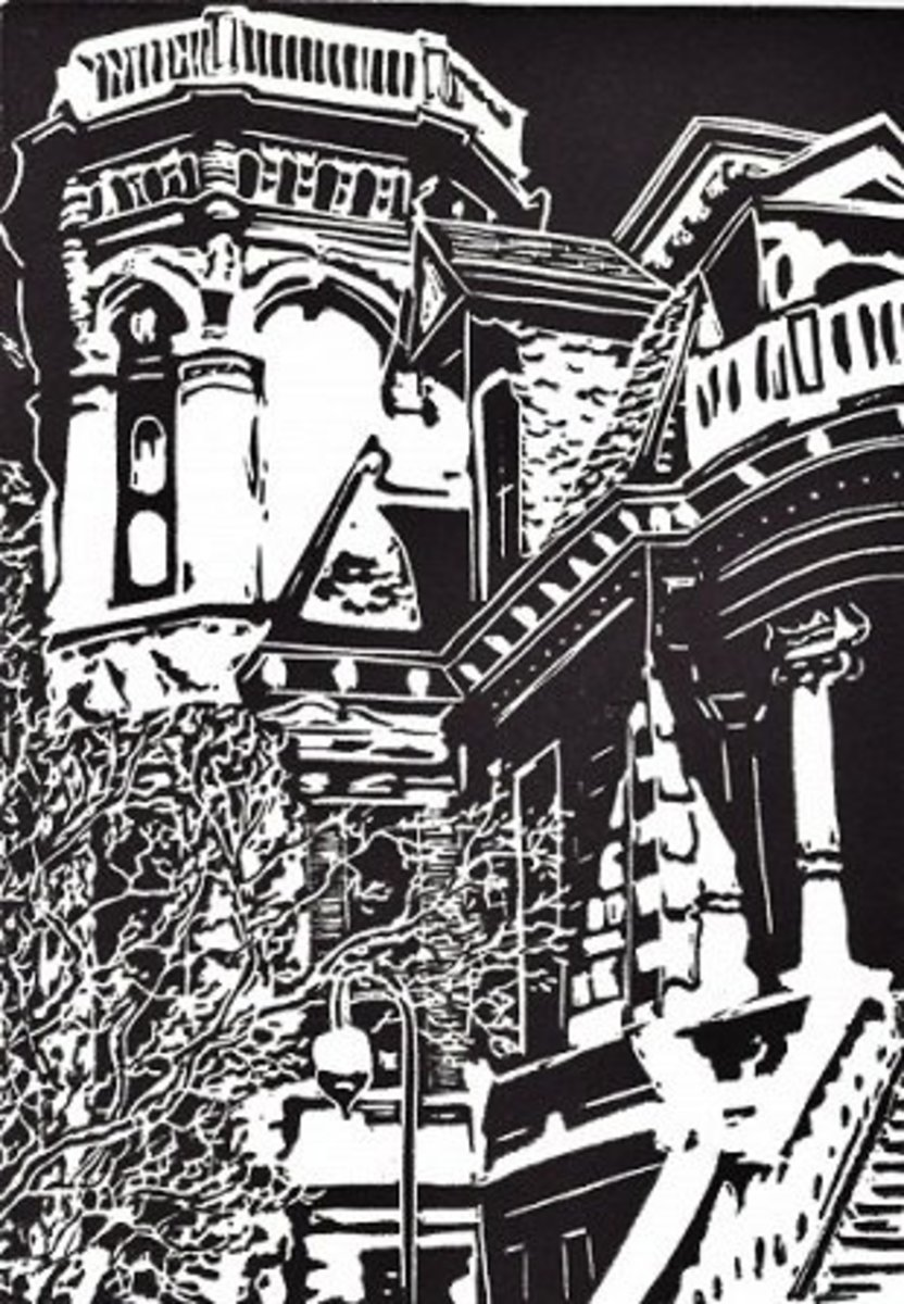 Linocut of Trube House in Galveston, Texas created by Peggy Woods