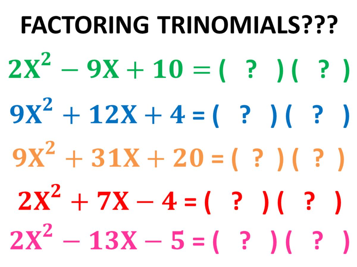 Factoring Quadratic Trinomials Using the AC Method