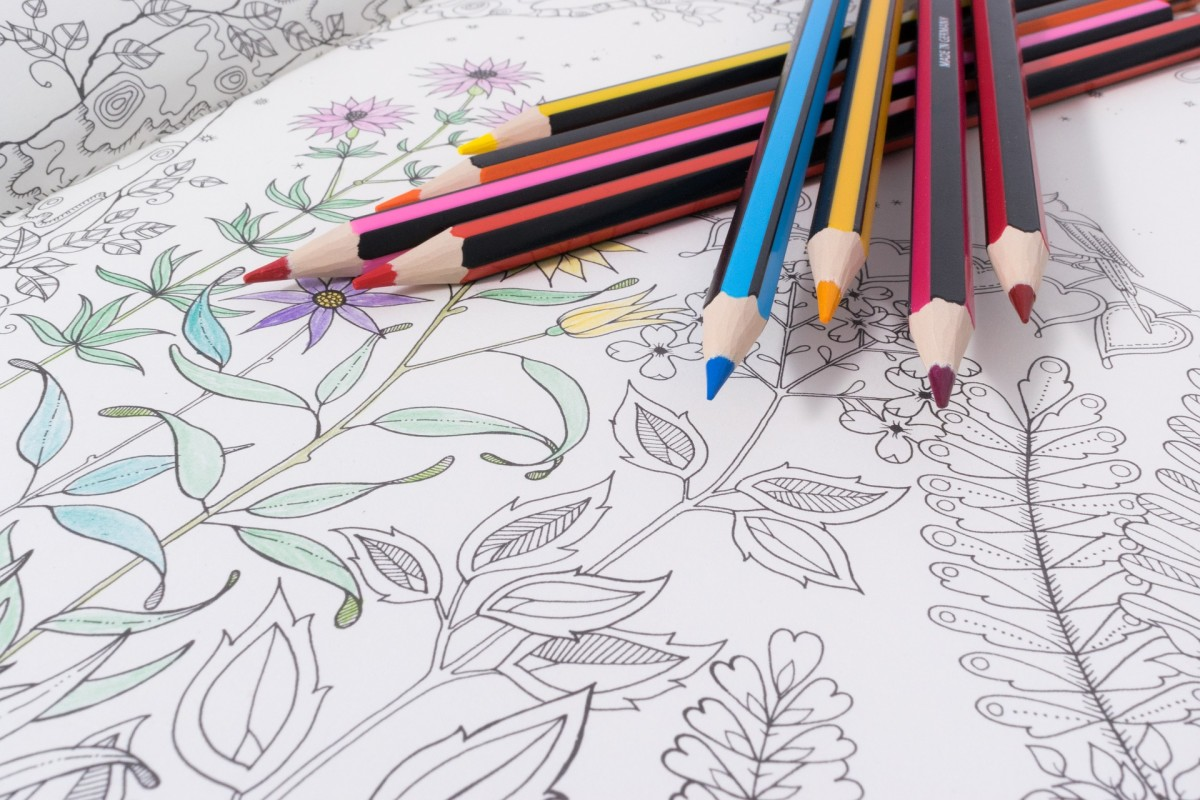 A variety of colored pencils have been selected to start coloring this geometric sketch of flowers.