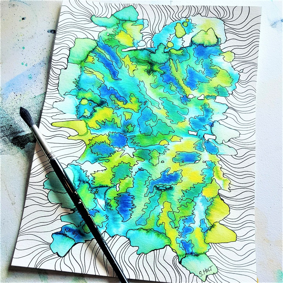 Abstract Watercolor created with leftover paint! Then I added the fun designs with my micron pen.