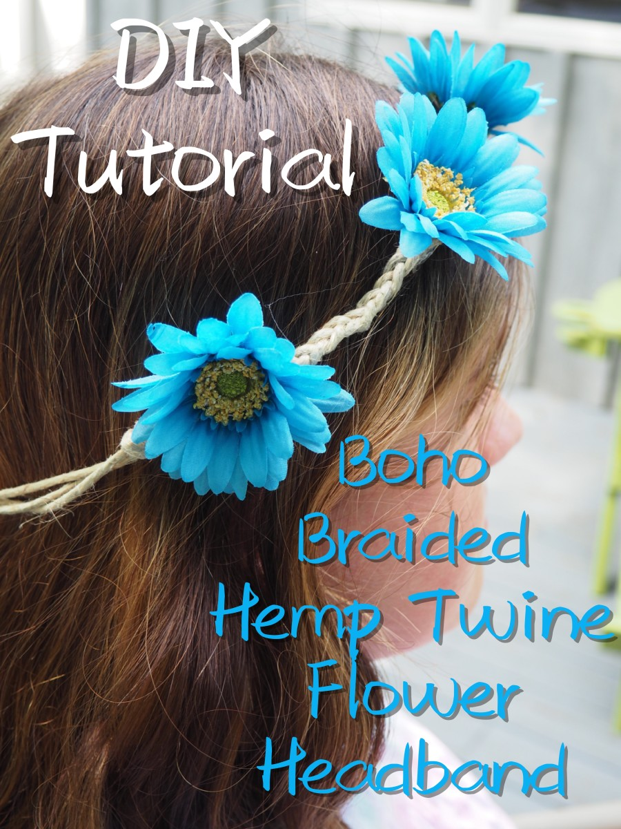 Easy-to-follow tutorial on how to make a boho braided flower headband out of hemp twine.