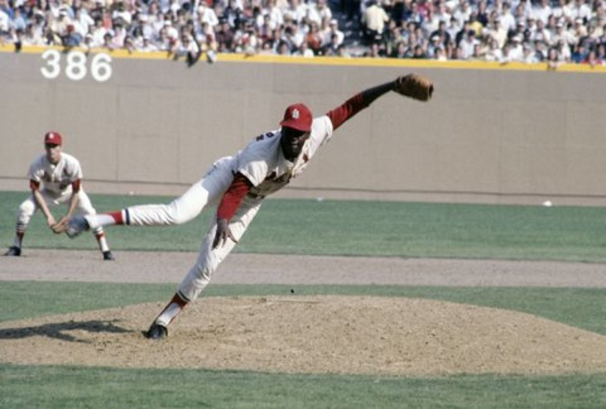 Bob Gibson coming out of his iconic wind up.