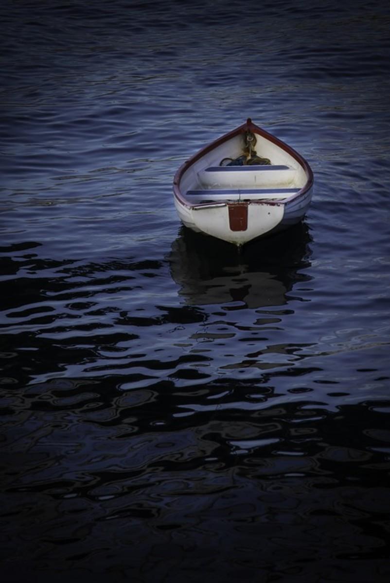 A boat, adrift.