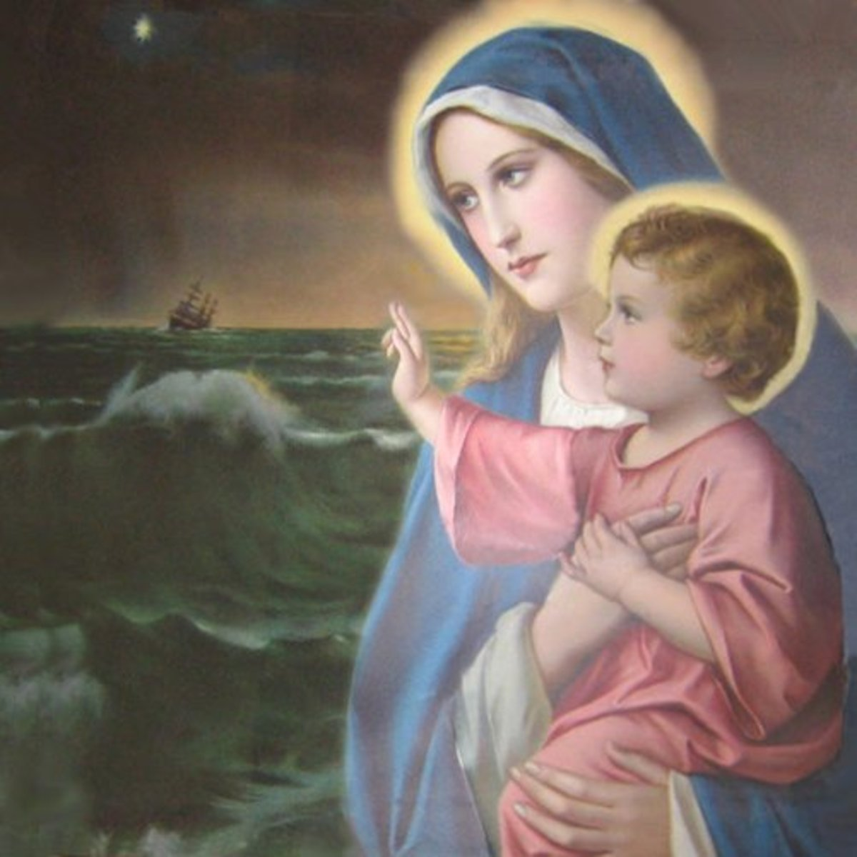 This is an anonymous 19th century painting of Mary as Star of the Sea.