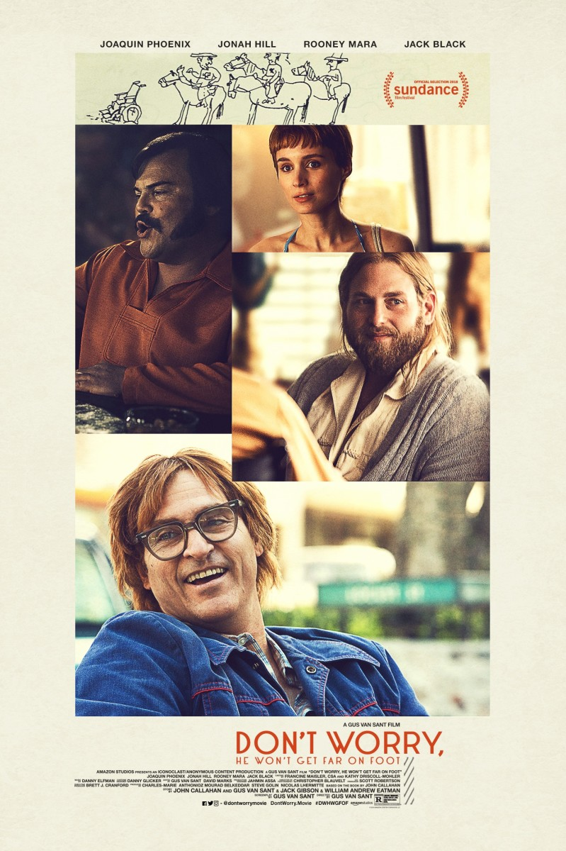 "The official theatrical poster for, ""Don't Worry, He Won't Get Far on Foot."""