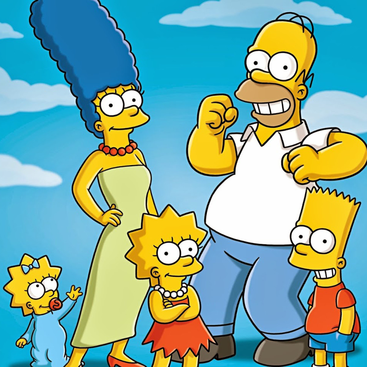 The Simpsons family, as they appear in the animated series.