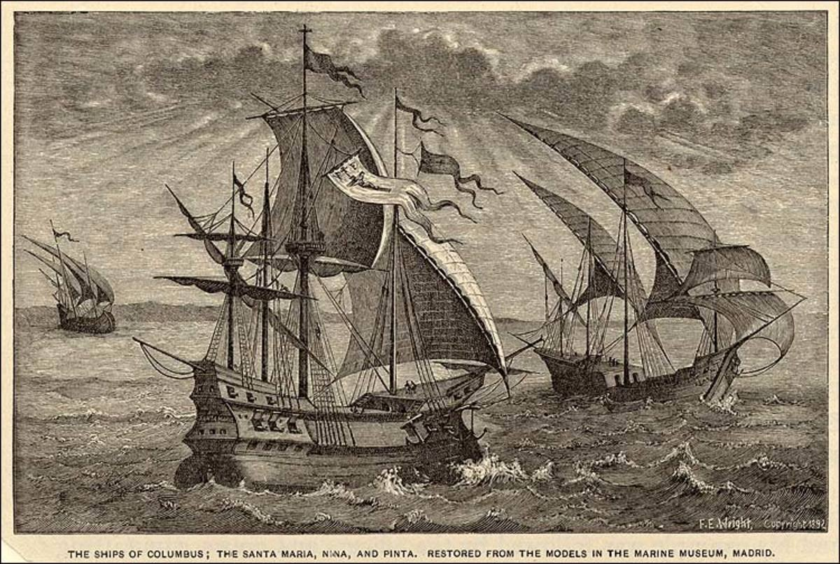 Columbus's first voyage to America included three ships, the Pinta, the Nina and Santa Maria
