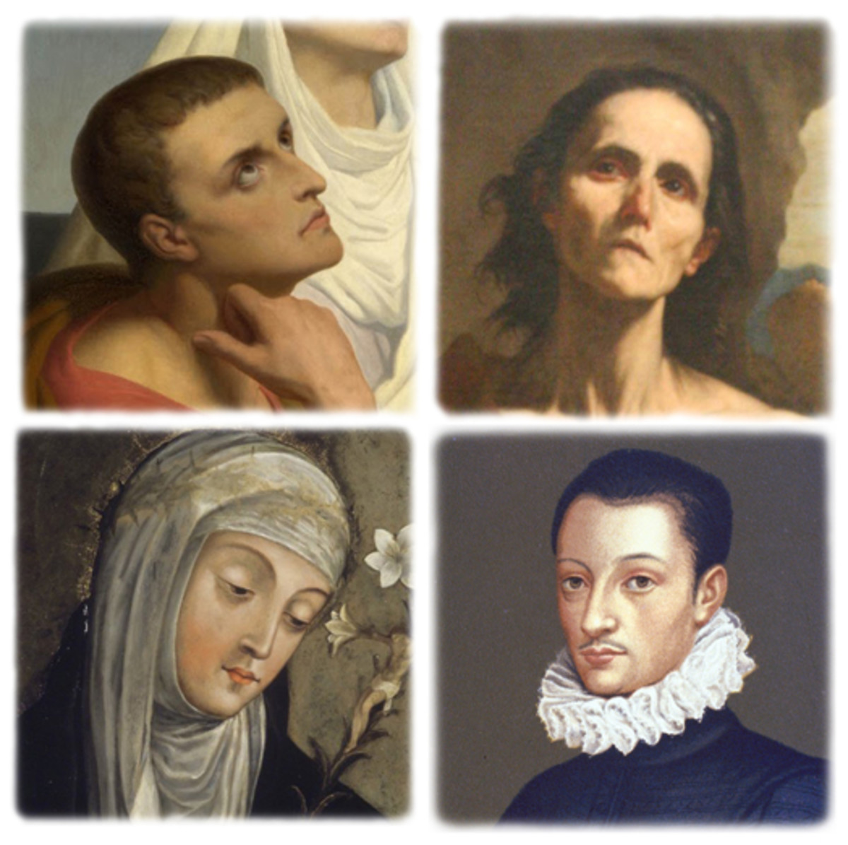 Clockwise from top left: Sts. Augustine, Mary of Egypt, Aloysius Gonzaga, Catherine of Siena