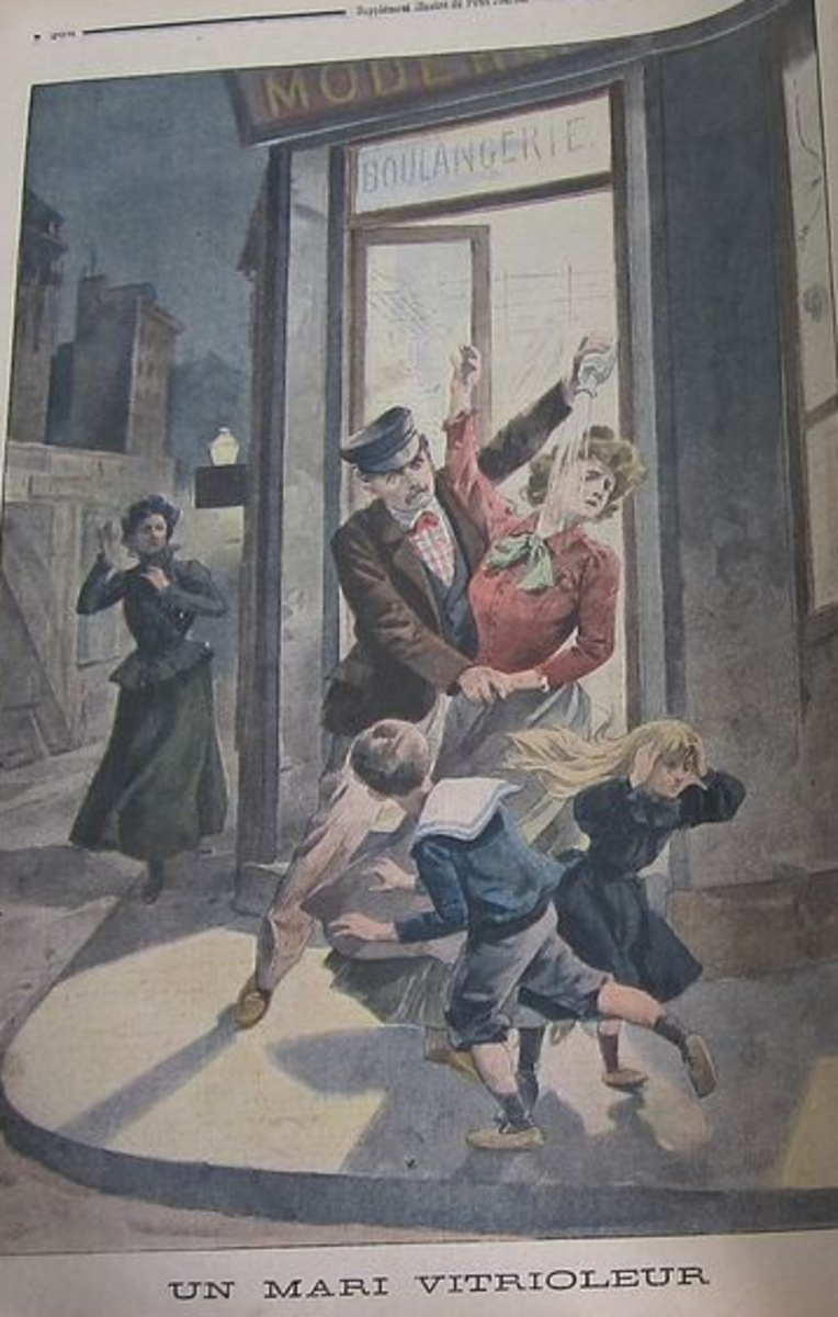 """The cover of a 1901 edition of the periodical """"Le Petit Journal"""", presenting """"a husband using vitriol"""""""