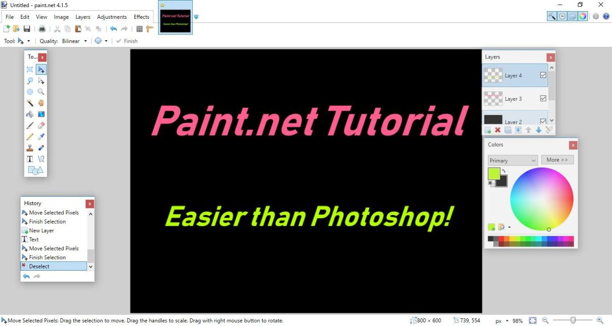 Paint.net was created by Rick Brewster at Washington State in 2004. It is a rastor graphics image editor which is continually updated. It is worth learning for those who need artwork to accompany articles or add pizzazz to photos for Pinterest, etc.