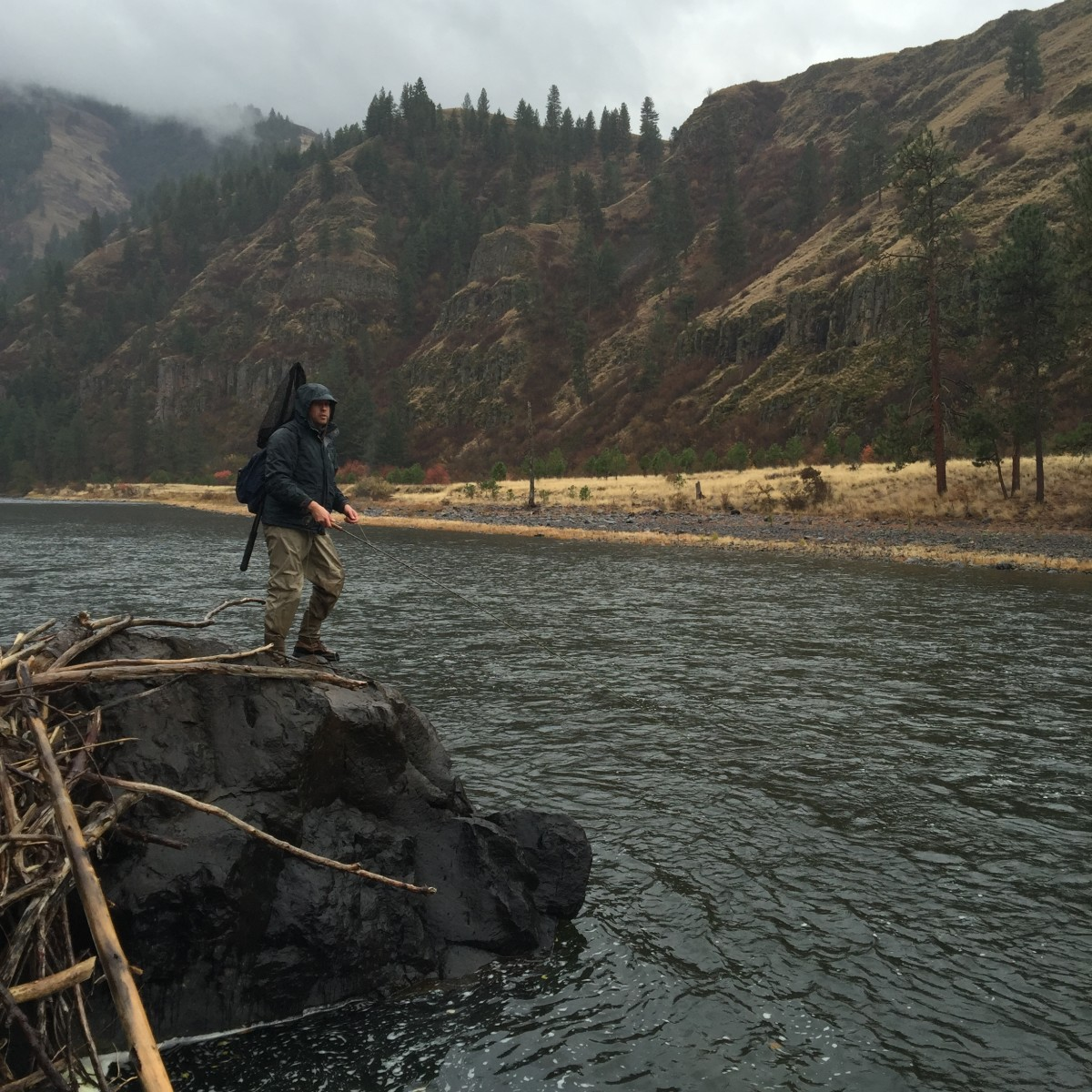 A dark, drizzly, sleety day on the Grande Ronde River. Perfect...