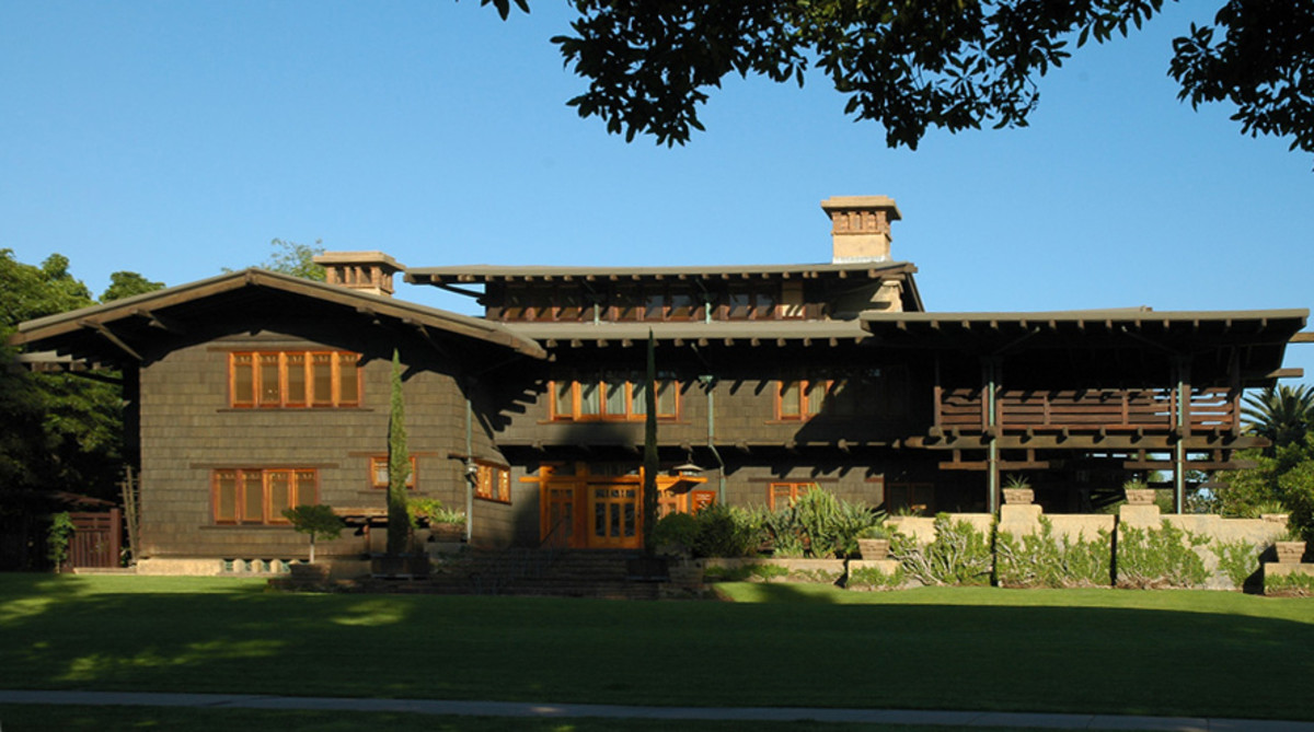 The California Craftsman bungalow Gamble House designed by Greene and Greene.