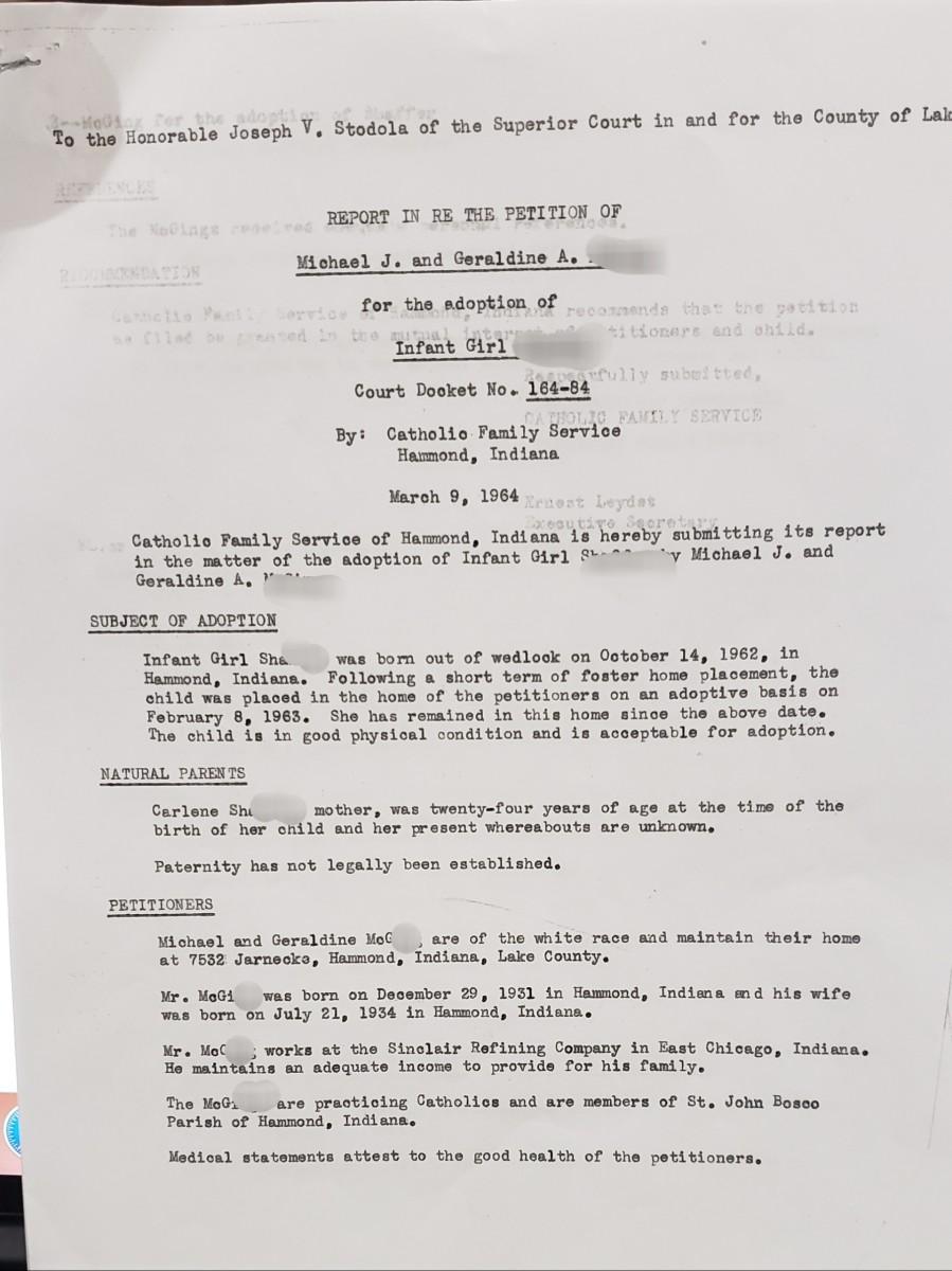 Adoption Report, Page 1