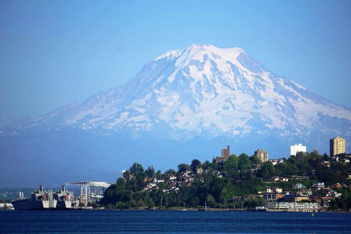Mount Rainier Towering on the horizon as viewed from the Ruston Way area in Tacoma, Washington