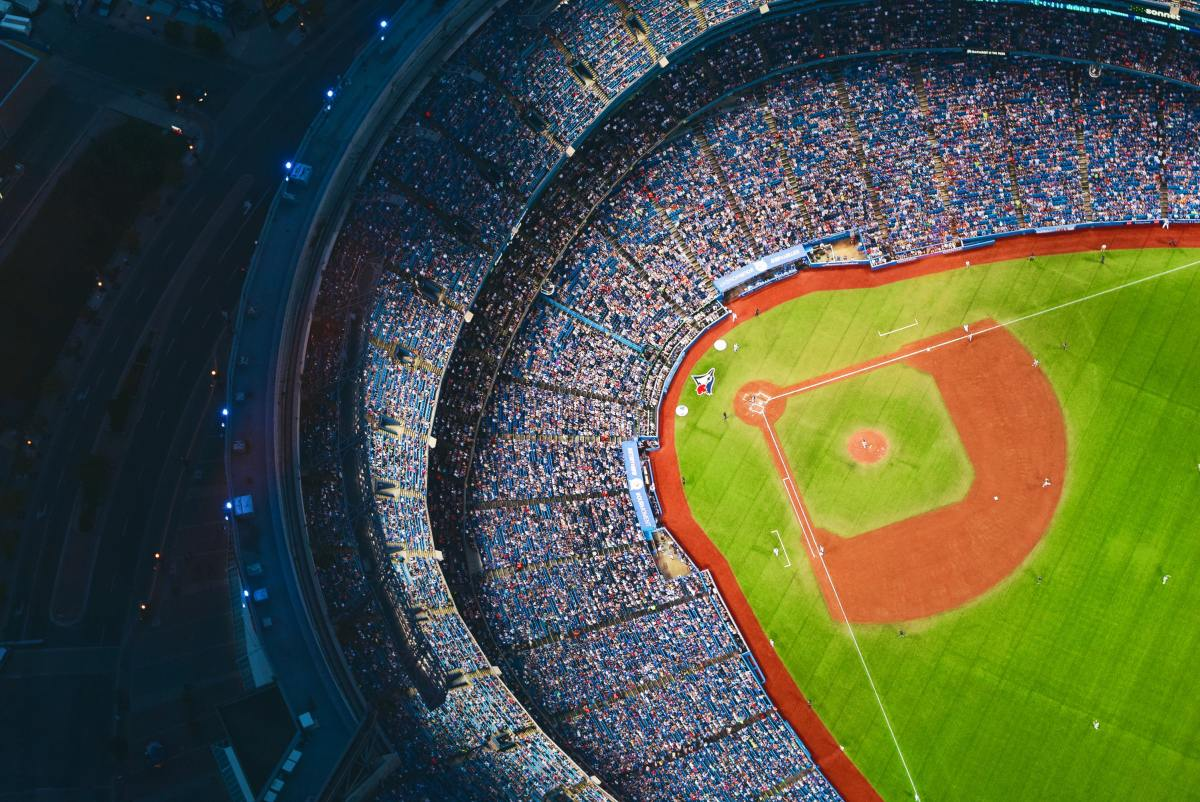 Aerial view of a ballpark.
