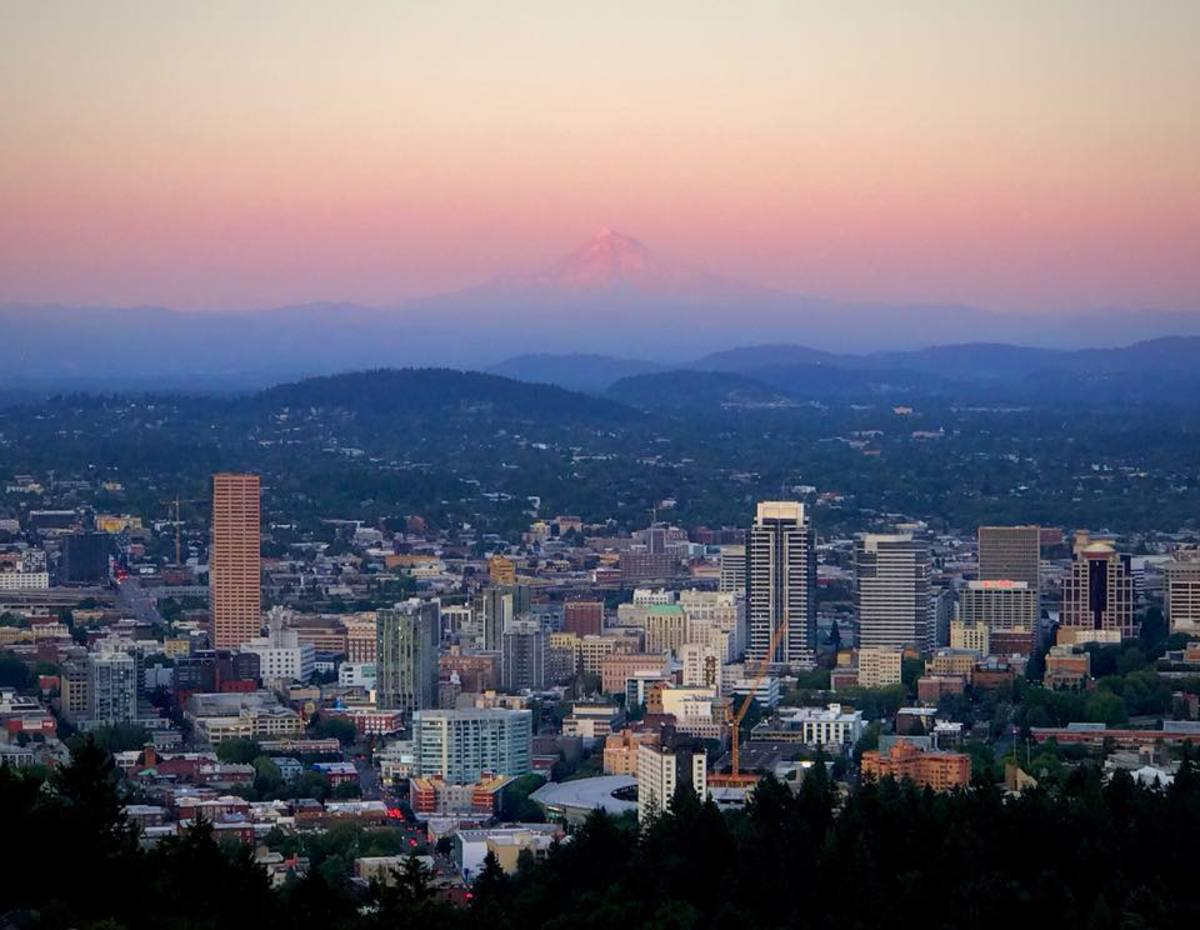 Sunset view of Portland and Mount Hood from the Pittock Mansion.