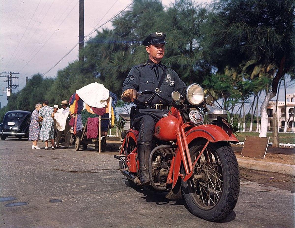 1950s Puerto Rican motorcycle cop.