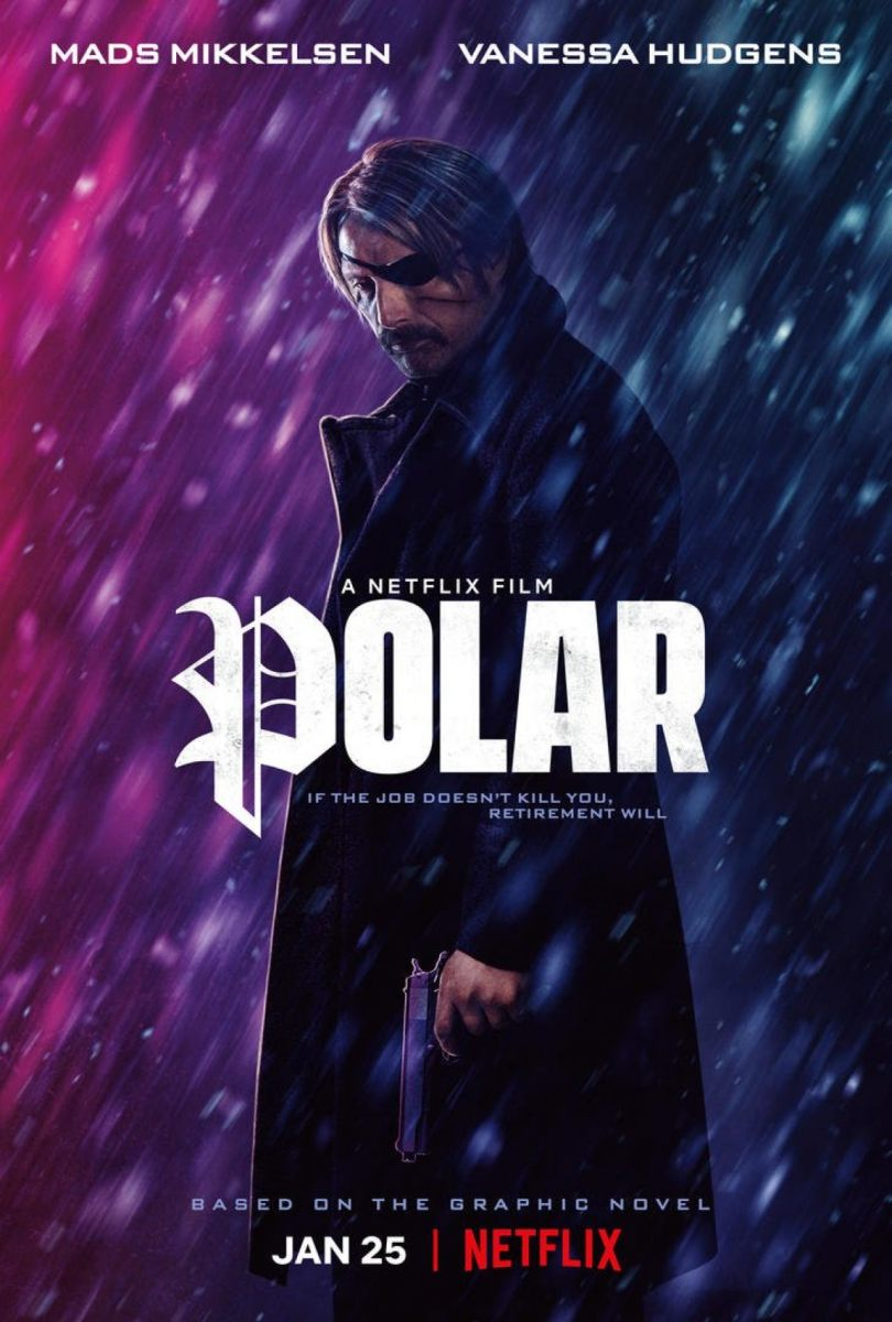 "The official Netflix poster for, ""Polar."""