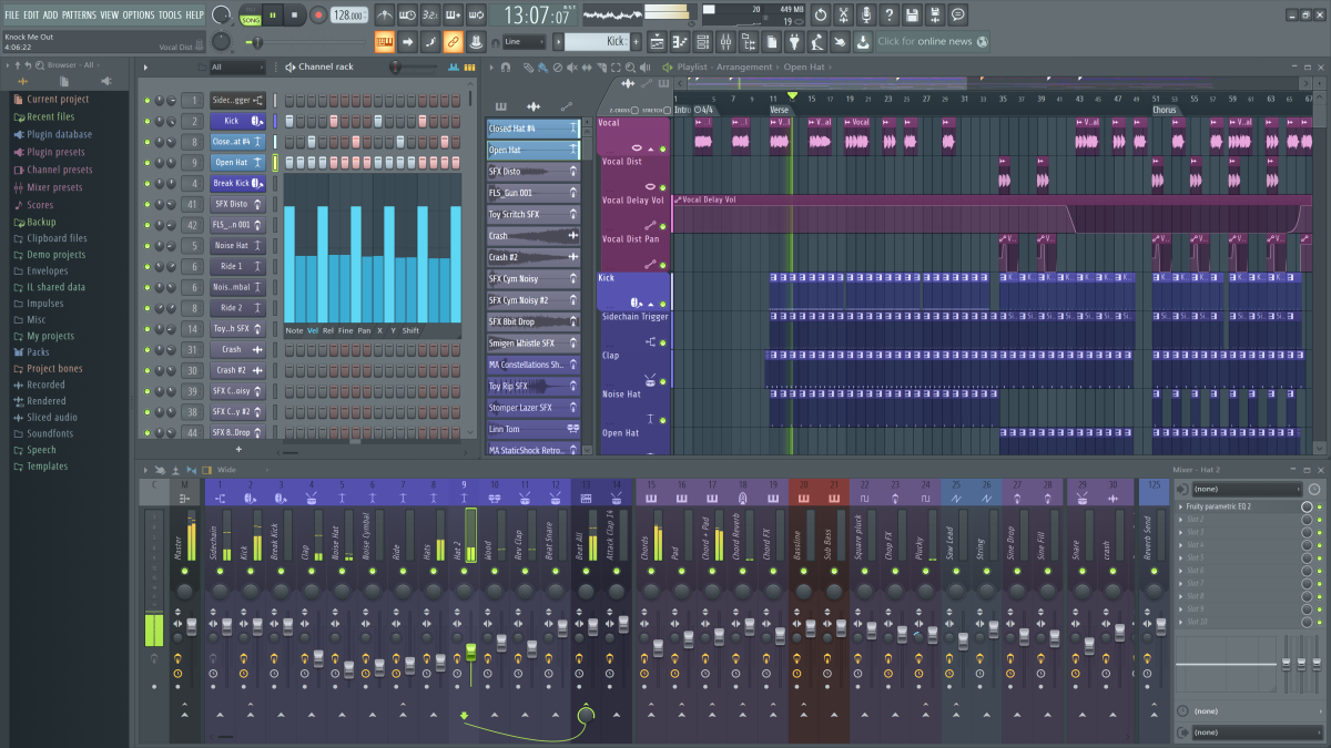 Screenshot of the FL Studio 20 Producer Edition interface, which shows the channel rack, playlist and mixer, as well as a glimpse of the software's powerful features.