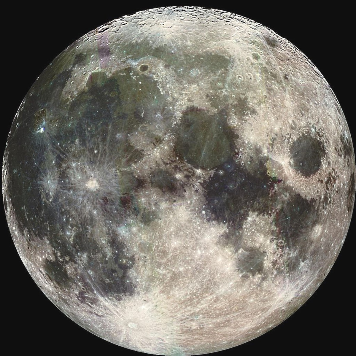 The moon as photographed from the Galileo spacecraft; photograph enhanced by the near-infrared capabilities of the camera