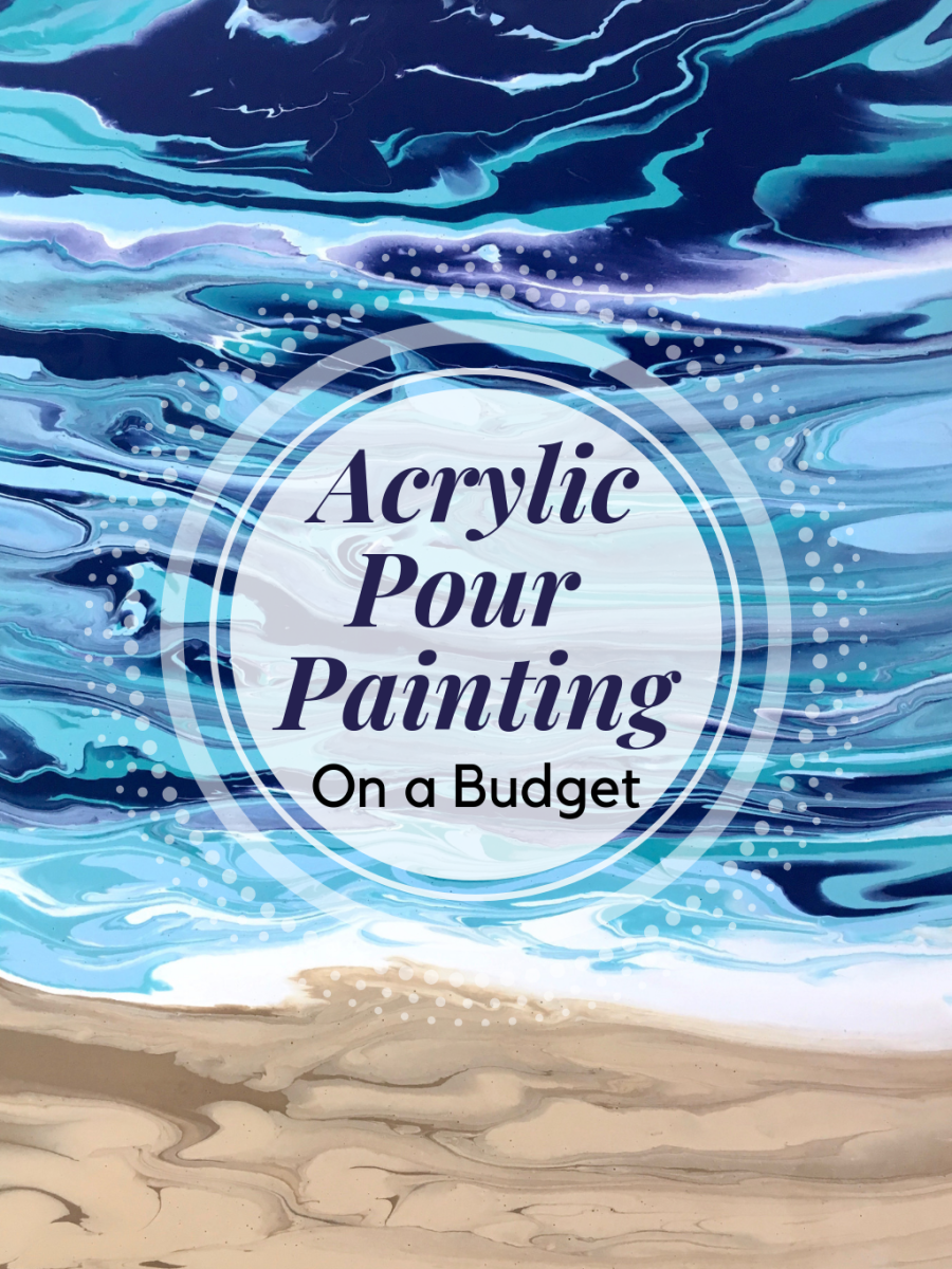 Want to try acrylic pour painting on a budget? This article will show you how.