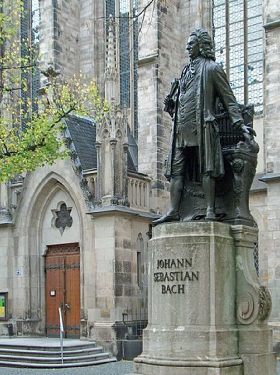 1908 Statue of Bach in front of the Thomaskirche in Leipzig