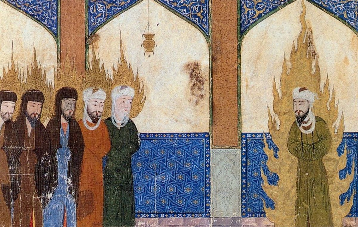 Medieval Persian manuscript depicting Muhammad leading Abraham, Moses and Jesus in prayer.